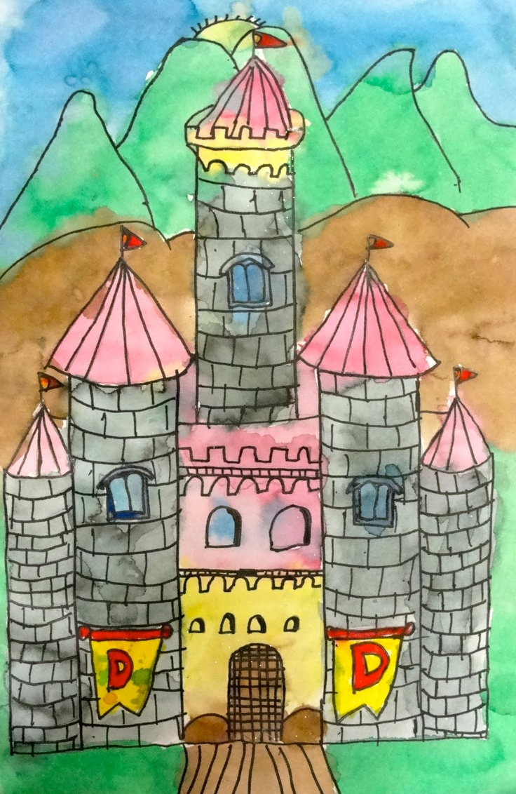 Deep Space Sparkle – How to draw a castle art project - 4th grade - template - color marker sm. elements & watercolor