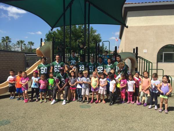 Irvine High School football team supporting the Woodbury Elementary Jog-A-Thon.