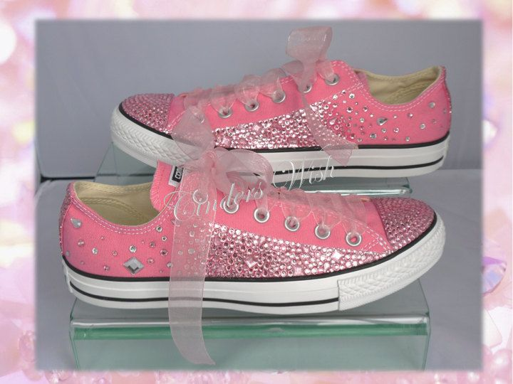 Pink teardrop converse / Customised converse / Wedding converse / Bling converse / Prom converse / Bridesmaid converse / Sparkling / Unique by CindersWish on Etsy
