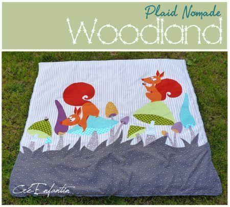 """Plaid & Sac de couchage pour enfant """"Woodland"""" avec gabarit et instructions illustrées.  Dimensions : H 130 X L 140 cm"""