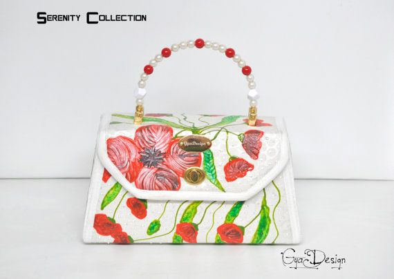 RESERVED Purse handbag with poppies White purse with poppies
