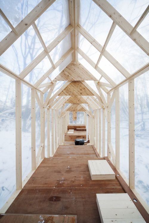 A temporary winter forest shelter designed by Hidemi Nishida.