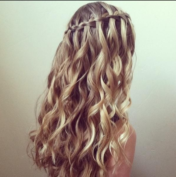 Waterfall Braid And Curls Blonde Braids And Curls