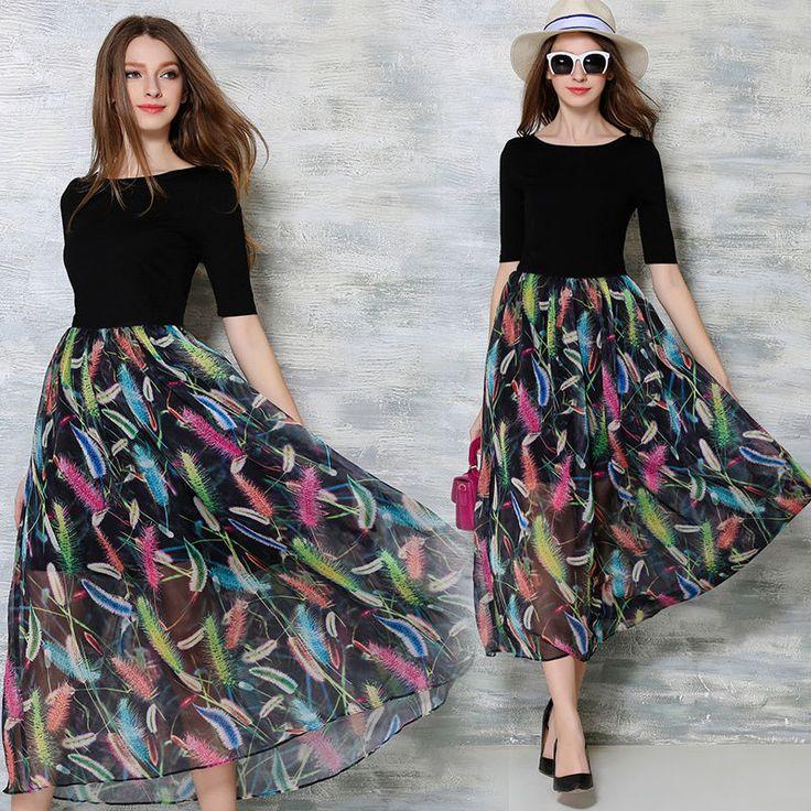 Summer Fashion Womens Short Sleeve High-end Exquisite Chiffon Printed Long Dress #Unbrand #Maxi #Casual