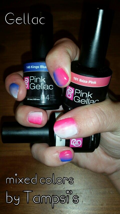 Mixed colors from Pink Gellac on my own nails