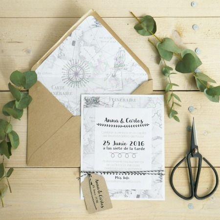 Invitación boda, Carta Náutica Holamama