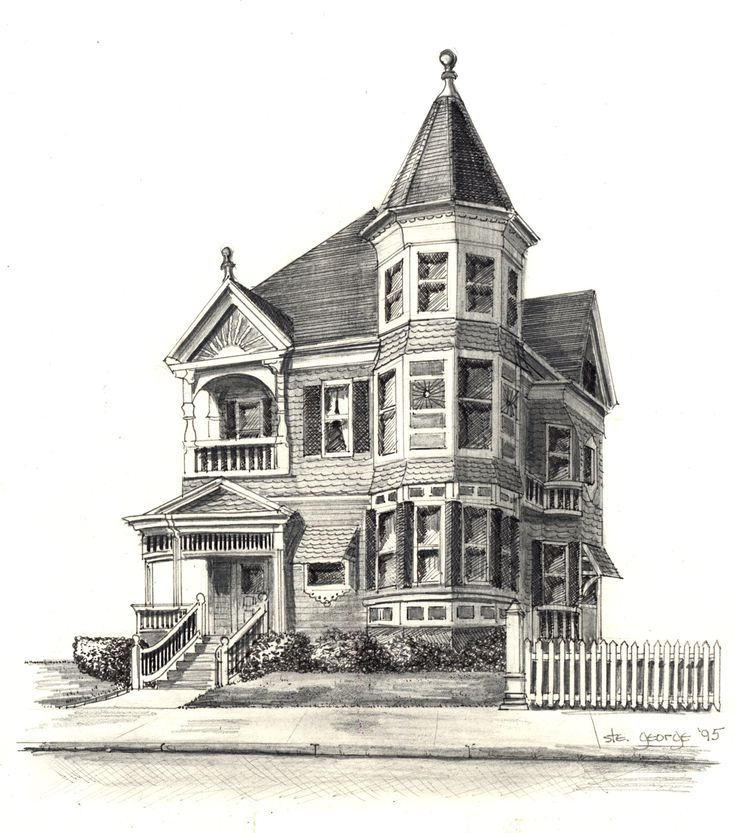 Haunted Places In Saco Maine: Drawings Of Victorian Houses
