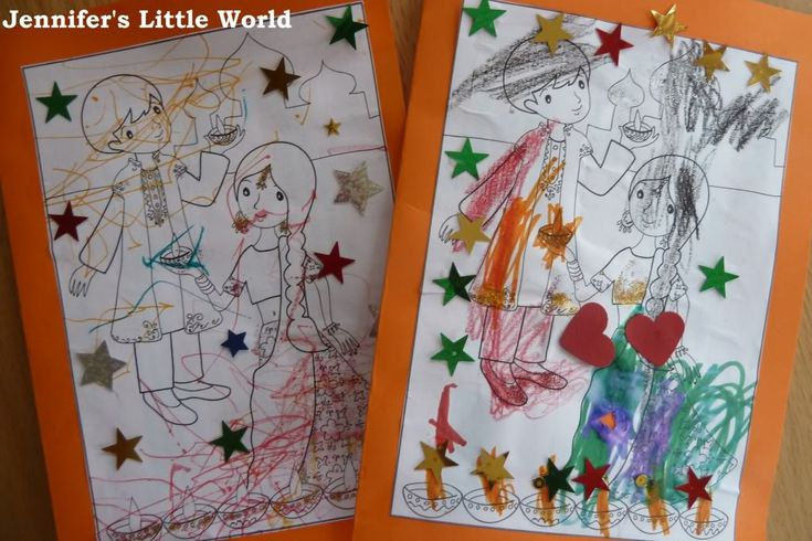 Simple homemade Diwali cards for toddlers and pre-schoolers to make