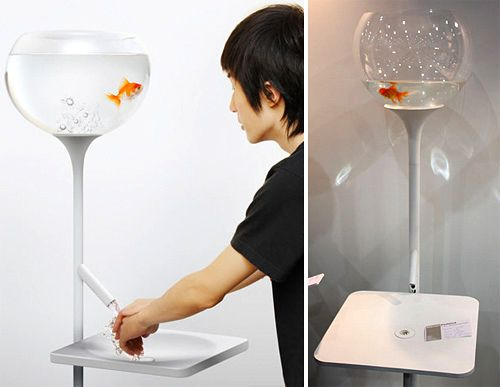 """""""Poor little fish sink"""" As you wash your hands the fish's tank looses water reminding you to conserve water. It's all just an illusion because the tank fills up before going completely empty...kinda gross but I'm sure it's effective in conserving water!"""