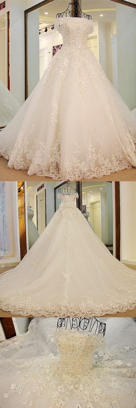 A-line Off-Shoulder Cathedral Train Tulle Rhine Stone Lace Wedding Dresses ASD2631 #weddingdresses #bridaldresses #weddings #lace #romantic #princess