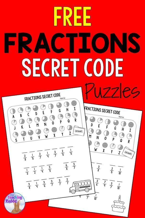 Fractions Secret Code Worksheets Fun Math Activities Math Activities Fun Math Math secret code worksheets