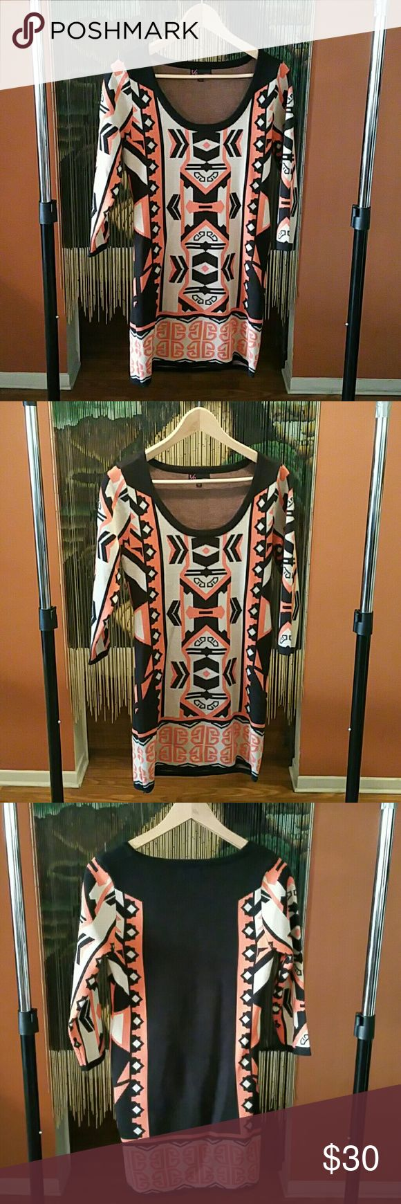 """Sweater dress Perfect for the colder weather! Pair with leggings or knee length boots. Aztec print. 100% acrylic. Flat lay measurements: 17"""" sleeve, 30"""" dress length, 14"""" armpit to armpit, 14.5"""" waist (29"""" round). New, no tags, never worn. TO Dresses Mini"""