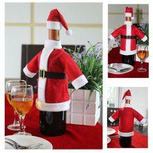 Xmas Kerstman Rode Wijnfles Cover Wrap Christmas Party Tafel Diner Decor Vrolijke Cover Tassen Decoratie Thuis Party(China (Mainland))