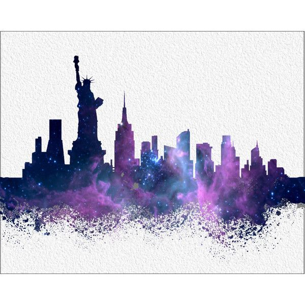 New York Watercolor Art Print City Skyline Silhouette Liked Poly