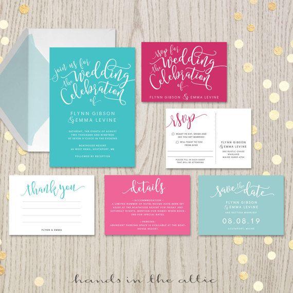 Aqua fuchsia wedding invitation sets suites kits turquoise carribean ocean blue   hot pink raspberry magenta bright pink wedding DIGITAL by HandsInTheAttic