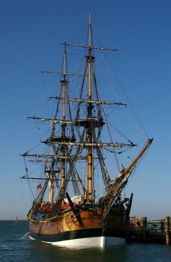Tall Ship Endeavour. Captain Cook sailed her on famous South Pacific voyages. He landed at Botany Bay to plant the British flag in 1770 in Australia. Was he first to discover Australia. Of course not but was first to claim it.