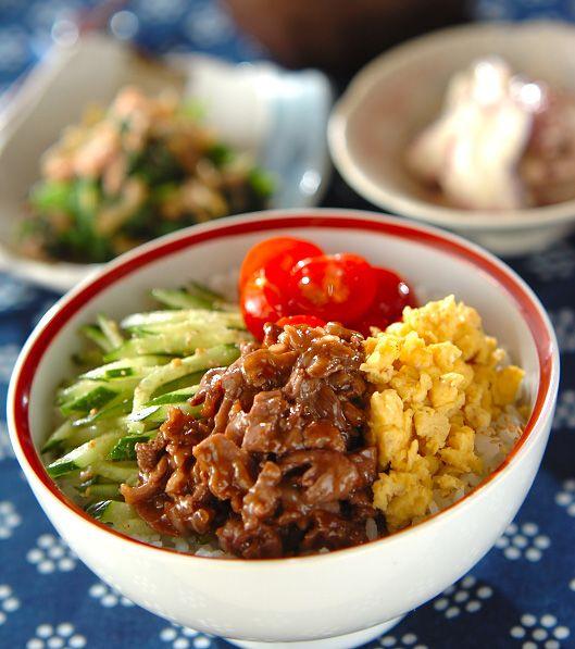 「カラフル焼き肉丼」の献立・レシピ - 【E・レシピ】料理のプロが作る簡単レシピ/2011.06.11公開の献立です。