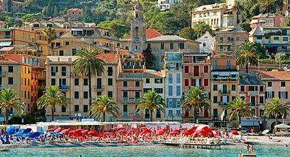 Santa Margherita Beach, Italy.  The houses, buildings and hotels were so beautiful.