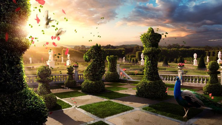 Artistic - Surreal - Chess Garden Wallpaper Psychedelic Pinch - kleine regale für küche