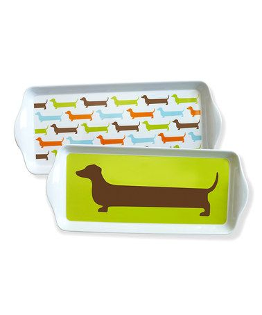 This Happy Dachshund Dessert Tray Set by NAKED DECOR is perfect! #zulilyfinds