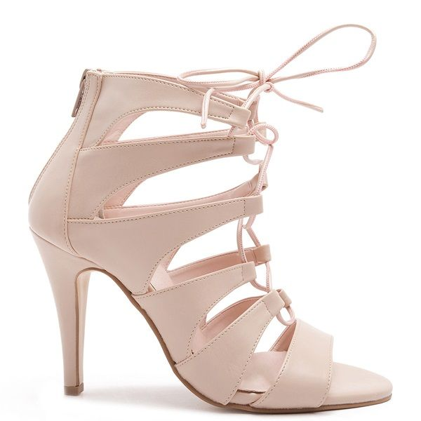 Beige lace-up high heel sandals with a zipper at the back.