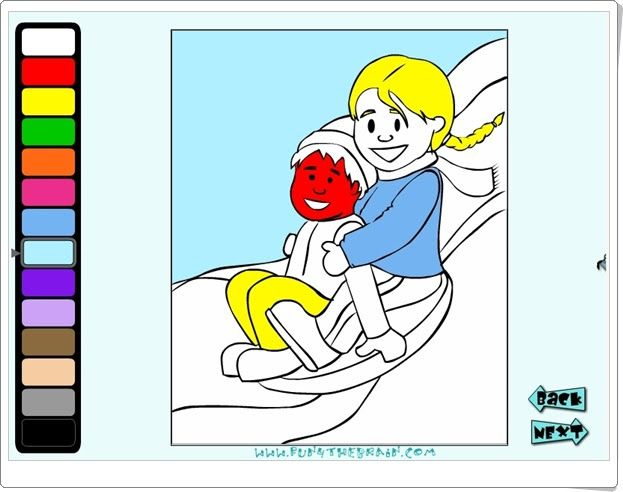 """""""Winter coloring fun!"""", de fun4thebrain.com, es un juego en el que para colorear el paisaje de invierno es necesario abrir los candados de los colores contestando a divisiones mentales. Con tres niveles de dificultad para que pueda ser jugado por niños de 2º de Primaria hasta 4º de Primaria."""