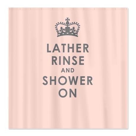 Lather Rinse Pink Shower Curtain
