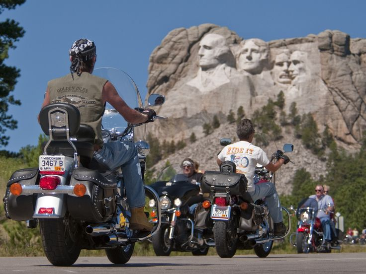 Bikers head 37 miles from downtown Sturgis to see the top landmark in  South Dakota's Black Hills area: Mt. Rushmore. The most direct route is Interstate 90 -- exit at Rapid City and follow US Highway 16 southwest to Keystone and then Highway 244 to Mount Rushmore.