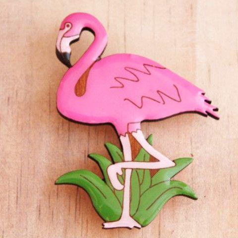 Bok Bok B'Gerk Flamingo Brooch