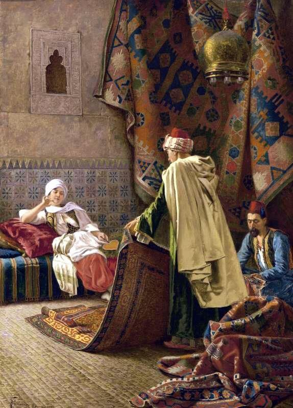 Francesco Ballesio (Italian painter) 1860 - 1923 Choosing a Carpet, s.d. oil on canvas 24 3/4 x 17 3/4 in. (63 x 45 cm.) signed F. Ballesio Roma Tivoli (lower left) private collection