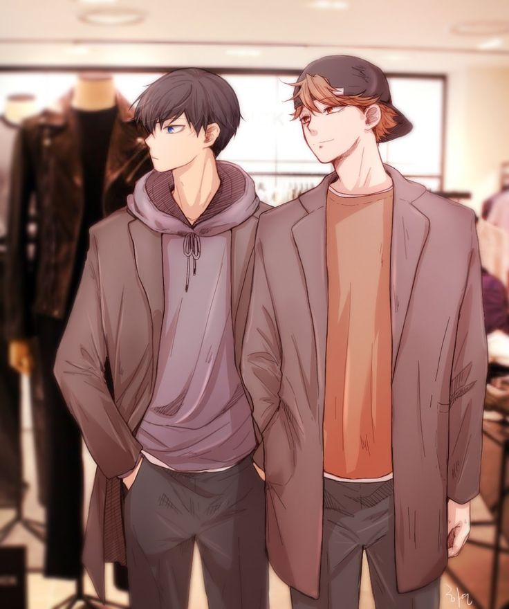 Older Hinata and Kageyama. Ha, Hinata's taller than Kags now. :P