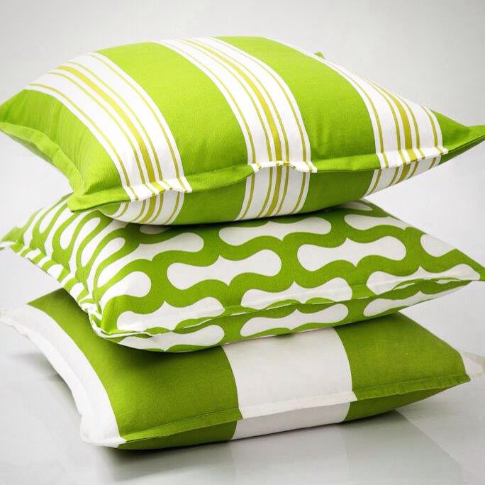 Still one of my favourite colours, is the ever popular Dark Lime Green in a stripe and Co-ordinating geometric, hot of the printing press, is my New Printed Cushion Range...