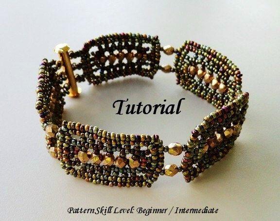 GODIVA beaded bracelet beading tutorial beadweaving pattern seed bead beadwork jewelry beadweaving tutorials beading pattern instructions by PeyoteBeadArt on Etsy https://www.etsy.com/listing/89955324/godiva-beaded-bracelet-beading-tutorial