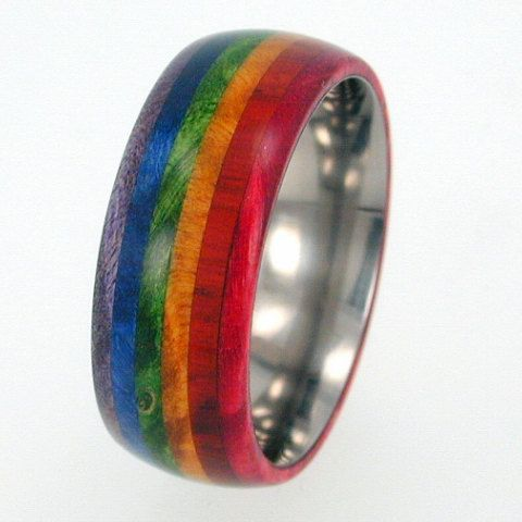 Rainbow Color Ring, Box Elder Burl Wood Band, Rainbow Wood Titanium Ring, Ring Armor Included | jewelrybyjohan - Jewelry on ArtFire