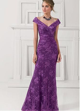 Chic Lace Off-the-shoulder Neckline Floor-length Sheath Mother Of The Bride Dress