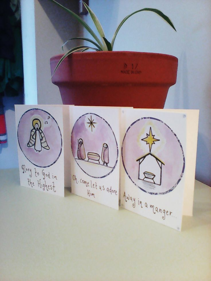3 hand drawn Nativity Christmas cards, religious Christmas cards, set of Christmas cards, mini Christmas cards, drawn Christmas cards by Deborahthezebra on Etsy