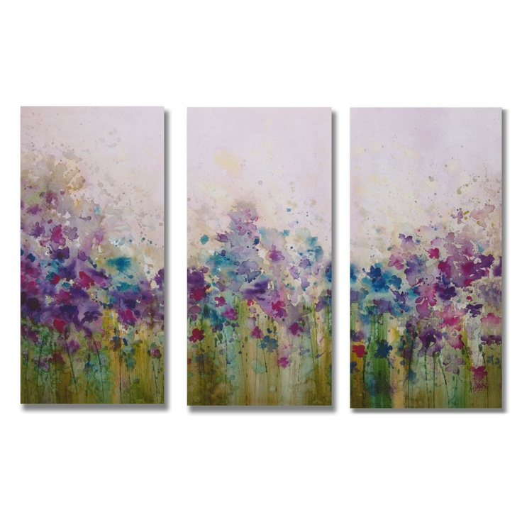 Gallery watercolor meadow 3 piece original painting on for Set of three canvas paintings