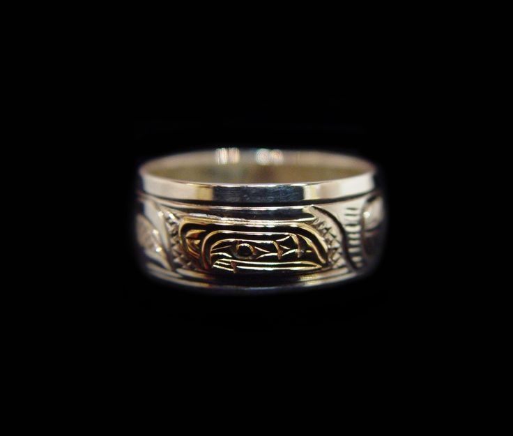 "Raven Ring, Victoria Harper. Sterling silver and 14K gold, 0.38"". Northwest Coast First Nations Jewelry."