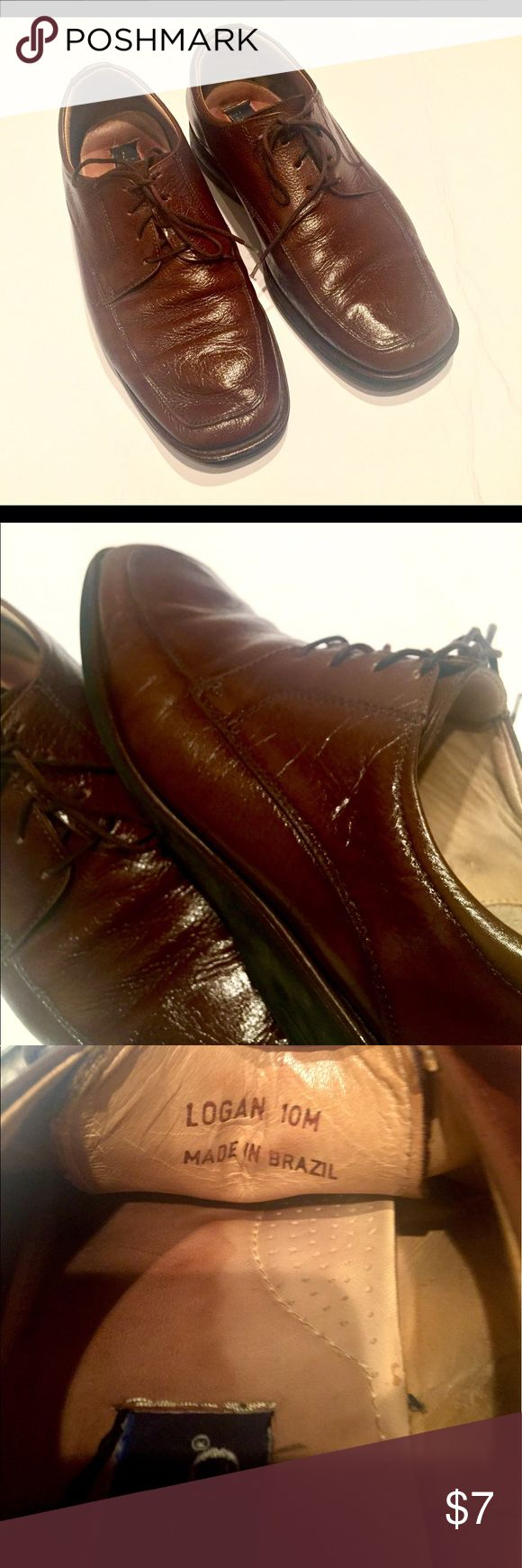 Men's brown leather lace ups Used brown leather lace up comfortable shoes.  Some discoloration on the inside of the shoes and uneven wear on the sole * see pic * strafford Shoes Oxfords & Derbys