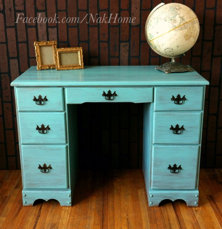Furniture Makeover Shabby Chic Turquoise Mint Blue Vintage Wood Vanity Desk  Hand Painted With Homemade Chalk Paint And Distressed