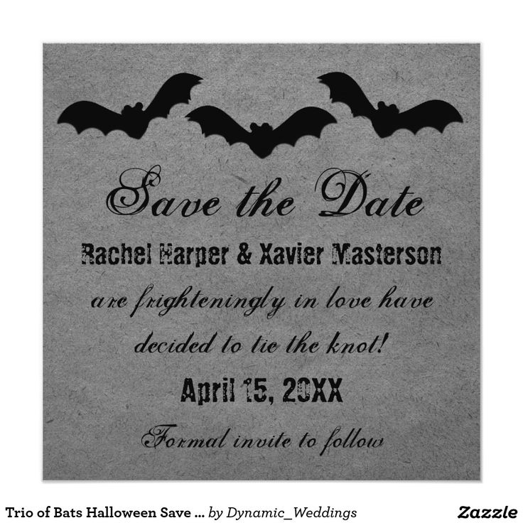 sample wording for save the date wedding cards%0A Trio of Bats Halloween Save the Date Invite