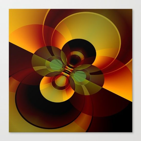 Brown and Gold Circles Geometric Abstract Fine art print