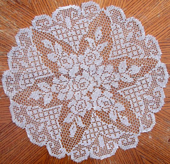 Vintage Hand Crocheted Ecru Lace ROSE Doily 24 by PickersParadise