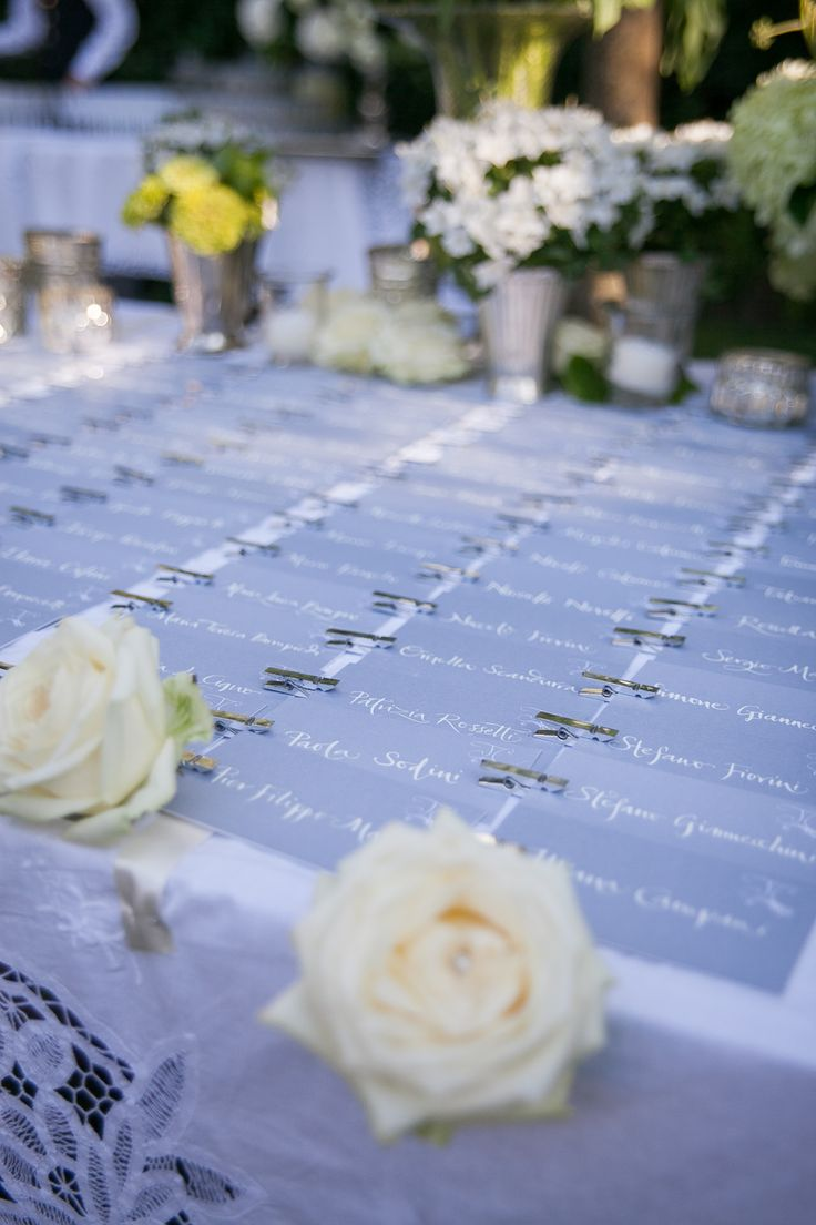 The escort cards display. Refined details can support a proper and elegant wedding direction.