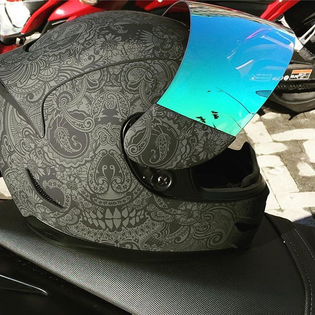 I think this is custom painted. Didn't see this design for sale. ~~ Icon Airmada Motorcycle Helmet 58