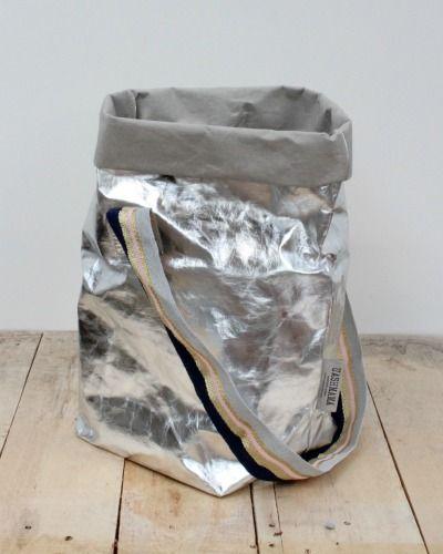 Silver Metallic Tote Bag