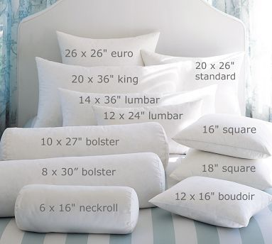 Not sure what size pillow to use? Cute reference guide for pillow sizes and names.