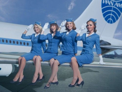 Back when flight attendants were 'stewardesses', on the short lived ABC program PAN AM. (Margot Robbie, Karine Vanasse, Kelli Garner, and Christina Ricci.)