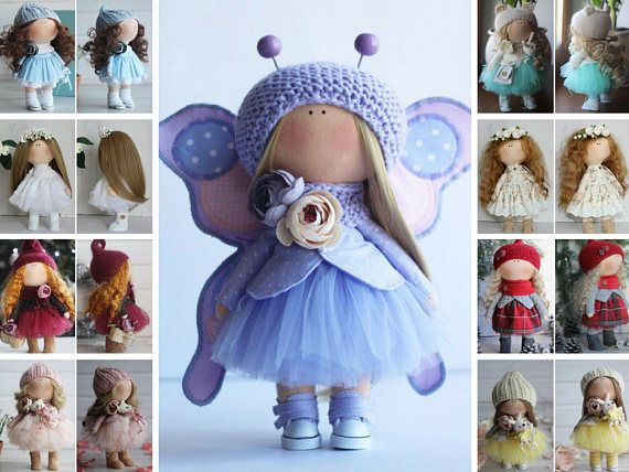 Butterfly doll Handmade doll Rag doll Bambole Textile doll Tilda doll Fabric doll Blue doll Puppen Cloth doll Baby doll by Master Oksana Z