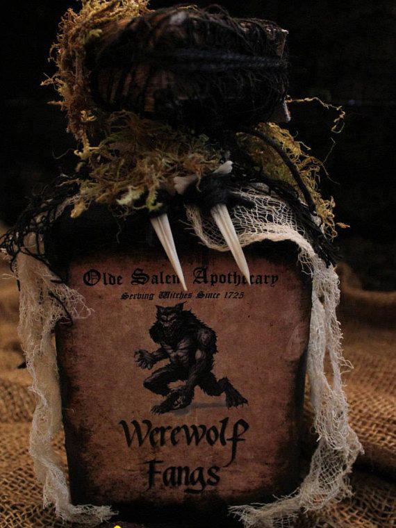 Halloween Potion Bottle Werewolf Fangs Halloween